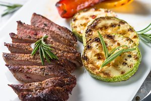 Beef steak and vegetables grill.