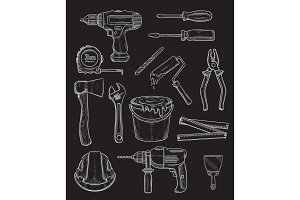 Vector work tools home repair chalk sketch icons