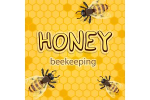 Honey product vector bees in honeycomb poster