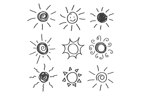 Sun Icon Vector Hand Drawn Design