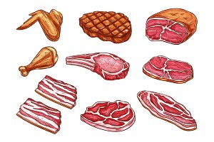 Vector sketch meat butcher products icons
