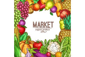 Vector natural vegetables and fruits sketch poster