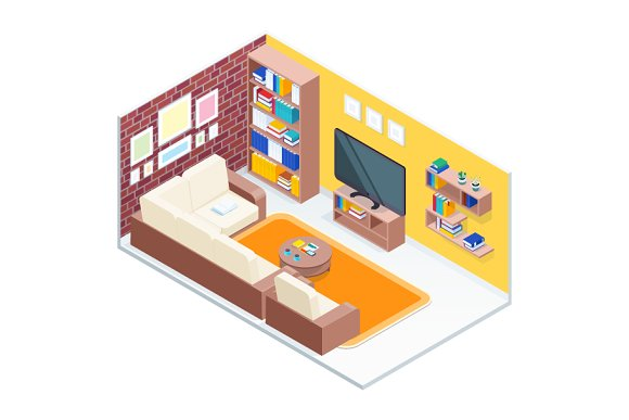 Isometric Concept Of Living Room