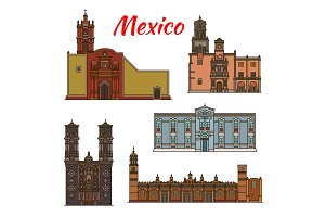 Mexico landmarks vector architecture line icons