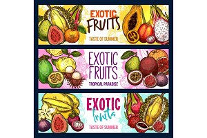 Vector fruit shop sketch banners of exotic fruits