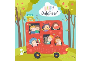 Cute children traveling by bus