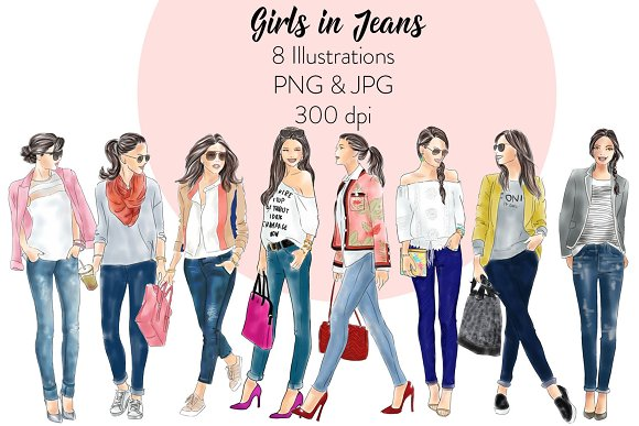 Girls In Jeans Fashion Clipart