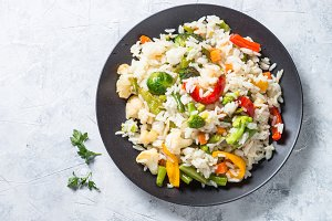 Vegetable risotto top view. Vegetarian food.