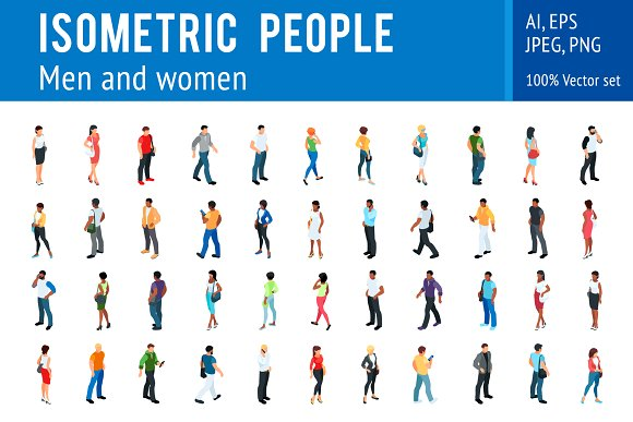Isometric People Vector Set
