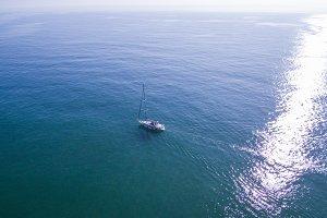 Sailboat. Drone view. Barcelona