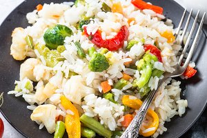 Vegetable risotto top view.