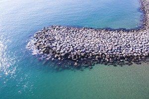 Breakwater. Drone view.
