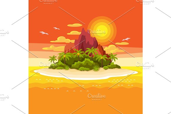 Illustration Of Tropical Island In Ocean Landscape With Ocean Palm Trees And Rocks Travel Background