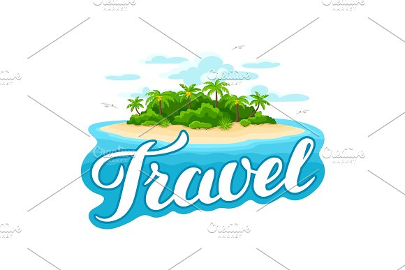 Illustration Of Tropical Island In Ocean Landscape With Ocean And Palm Trees Travel Background