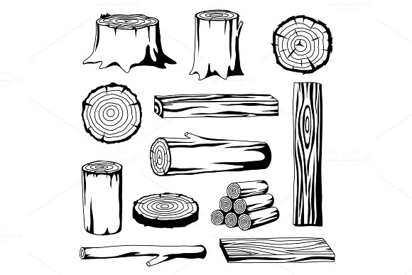 Set Of Wood Logs For Forestry And Lumber Industry Illustration Of Trunks Stump And Planks