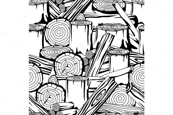 Seamless Pattern With Wood Logs Trunks And Planks Background For Forestry And Lumber Industry