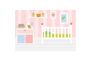 Pink baby room interior Nursery