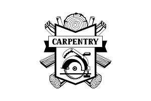 Carpentry label with wood logs and saw. Emblem for forestry and lumber industry