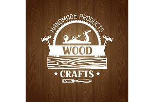 Wood crafts label with log and jointer. Emblem for forestry and lumber industry
