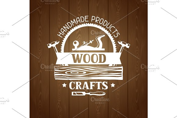 Wood Crafts Label With Log And Jointer Emblem For Forestry And Lumber Industry