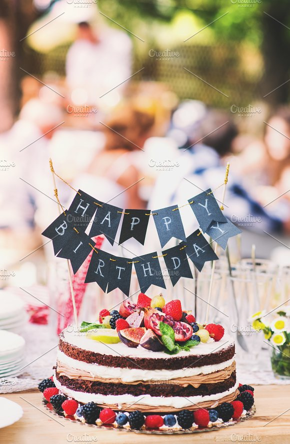 Family Celebration Or A Garden Party Outside In The Backyard