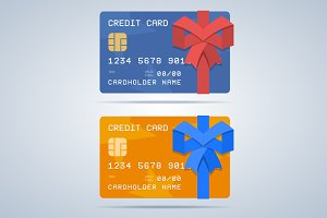 Wrapped gift credit card with ribbon