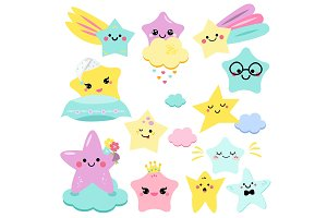 Cute baby stars. Nursery icons