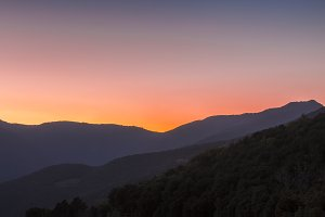 Sunset at mountains. Montseny