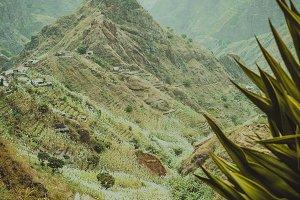 Lombo de pico in Xo-xo valley following trakking route 202 over Rabo Curto to Ribeira da torre. Santo Antao island, Cape Verde