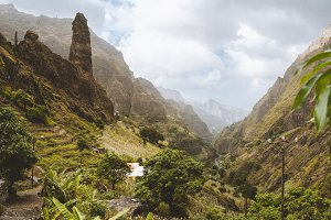 Picturesque canyon Ribeira da Torre covered with lush vegetation. Cultivation on steep terraced hills banana trees, sugarcane and coffee. Xo-Xo valley Santo Antao Cape Verde Cabo Verde