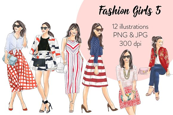 Fashion Girls 5 Clipart