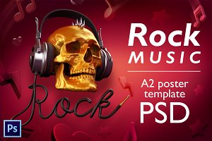 Rock music - PSD poster template