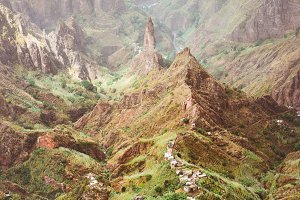 Peak of Xo-Xo valley. Rugged mountain radge overgrown with verdant grass. Santo Antao Island, Cape Verde Cabo Verde