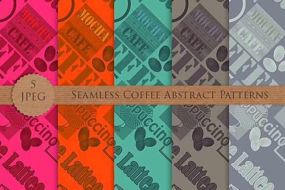 COFFEE Lettering Seamless Patterns