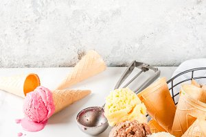 Set of homemade ice cream