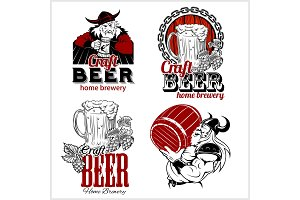 Set craft beer and vikings logo - vector illustration