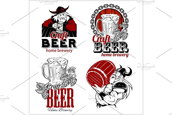 Set Craft Beer And Vikings Logo Vector Illustration