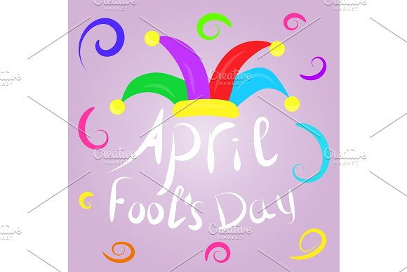 April Fools Day Greeting Colorful Typography With Jester Hat Vector Lettering Design Perfect For Greeting Card Banner Or Advertisement