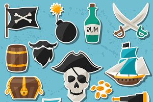 Set of stickers on pirate theme.
