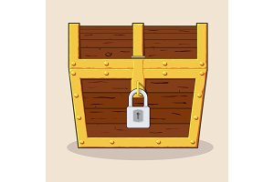 Closed and locked wooden pirate treasure chest,