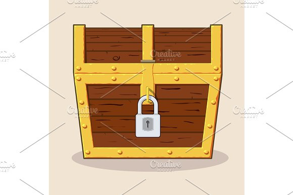 Closed And Locked Wooden Pirate Treasure Chest