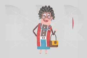 Old woman holding a handbag