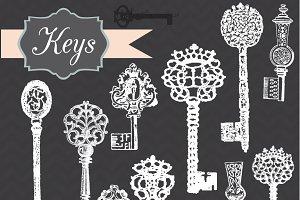 Vintage Chalkboard Keys Clipart