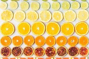 Cut slices citrus fruits pattern