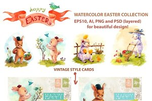 Easter watercolor collection