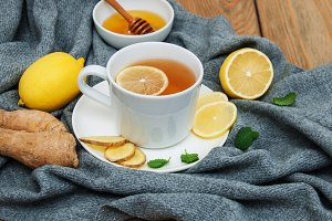 Cup of tea with lemon and ginger