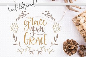 grace upon grace, handlettered svg