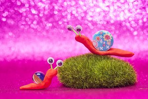 Funny snails children's background