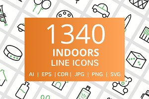 1340 Indoors Line Icons