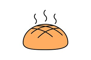Fresh round rye bread loaf color icon
